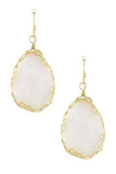 Teardrop Stone Earrings - white or green