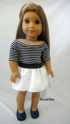 Navy Stripe Off Shoulder Top and Eyelet Skirt by BuzzinBea on Etsy