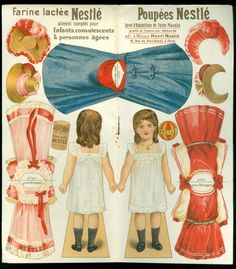 c1920 Farine Lactee Poupees Nestle Advertising Paper Doll  w 3 Costume 4 Hats in Dolls & Bears, Paper Dolls, Vintage | eBay