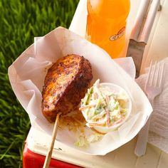 Spice-Rubbed Grilled Pork Chops on a Stick by midwestliving #Pork_Chop_on_a_Stick
