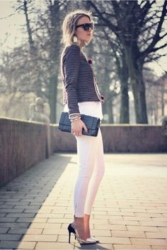 cropped white pants with metallic points