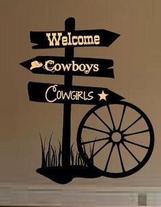 Western Sign Personalized little Cowgirl Cowboy vinyl decal art mural kids party Cowgirl Room, Cowboy Theme, Western Theme, Cowboy Party, Western Decor, Western Style, Art Mural, Mural Painting, Wall Murals