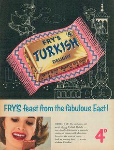 Turkish Delight advert from Vintage Food, Vintage Labels, Vintage Recipes, Vintage Ads, Posters, Football, Interiors, Inspired, Poster