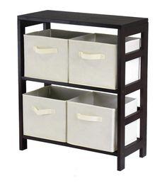 Winsome Wood 92861 Capri 2-Section M Storage Shelf with 4 Foldable Beige Fabric Baskets
