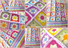 Crochet Daisy Granny Square - such sweet colors!