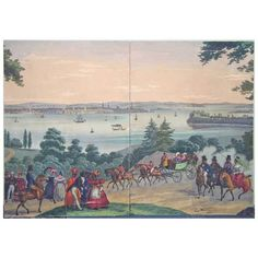 Set of Two Zuber Panels Depicting the Bay of New York - 1832