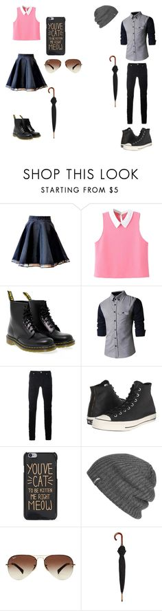 """""""0.01"""" by okay2416 ❤ liked on Polyvore featuring WithChic, Dr. Martens, Diesel Black Gold, Converse, Outdoor Research, Ray-Ban and London Undercover"""