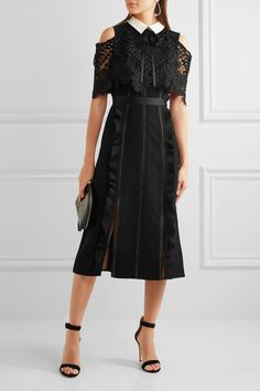 Self-Portrait | Hinkley guipure lace-paneled crepe midi dress | NET-A-PORTER.COM