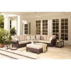 Hampton Bay, Mill Valley 4-Piece Patio Sectional Set with Parchment Cushions, 143-002-4SECOLE at The Home Depot - Mobile