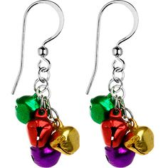 $12.99 #christmas Handcrafted Holiday Color Jingle Bell Earrings