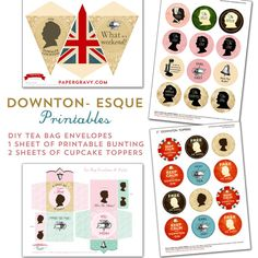 Set of 4 Downton Style Printables.