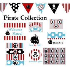 Pirate Party Complete Set Decorations Printable DIY Birthday Baby Shower Decor by BeeAndDaisy as featured on Hostess With The Mostess. $12.00, via Etsy.