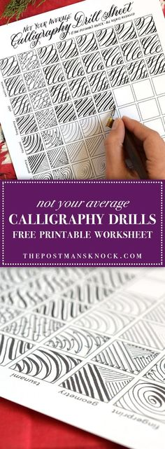 Not Your Average Calligraphy Drills Sheet The Postman's Knock - Drills can really help to acclimate you to a dip pen! Calligraphy Practice, How To Write Calligraphy, Calligraphy Handwriting, Calligraphy Letters, Penmanship, Cursive, Caligraphy Practice Sheets, Calligraphy Markers, Calligraphy Doodles