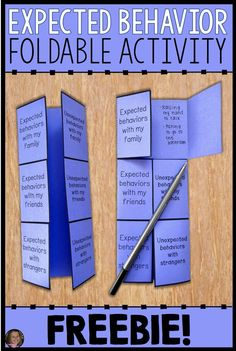 Expected And Unexpected Behaviors Foldable Activity – FREE! Expected And Unexpected Behaviors Foldable Activity – FREE!,Social Work This free expected v. unexpected behavior foldable activity is perfect for helping your students learn that the. Social Emotional Activities, Counseling Activities, Therapy Activities, Play Therapy, Speech Therapy, Shape Activities, Career Counseling, Occupational Therapy, Social Skills Lessons