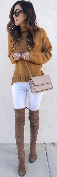 #winter #outfits brown knitted sweater