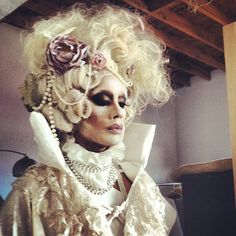 Raja, winner of RuPaul's Drag Race Cycle 3, in a Marie Antoinette inspired costume piece. Beautiful!