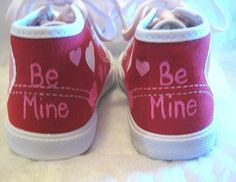 af96d1d8 Valentine Heart Shoes Red Hi Top Sneakers Hand Painted for   Etsy Pigesko