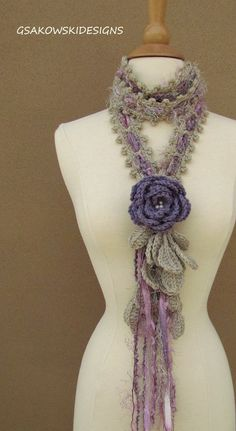 Queen Ann Rose LariatLavender nr 2 by gsakowskidesigns on Etsy, $43.00
