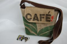 Recycled Burlap Coffee bag purse. Across body by suitablebags                                                                                                                                                     More