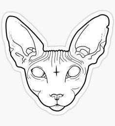 """Sphynx Cat"" Stickers by natashasines Tattoo Sketches, Tattoo Drawings, Art Sketches, Tattoos, Tattoo Cat, Tatoo Simple, Sphinx Cat, Cat Tattoo Designs, Cat Skull"