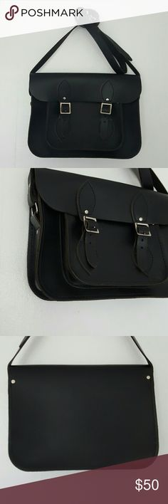 """TOM BROWN black leather crossbody satchel This gorgeous and high quality bag is made by the British company Tom Brown.  Almost identical to the Cambridge Satchel Company in style and quality, this little baby is called the Oscar satchel- named after Oscar Wilde.  The bag is 8.5"""" × 11"""" × 2.25"""".  The adjustable strap is 50"""" at its shortest, and 60"""" at its longest.  Silver hardware.  In EUC, possibly never carried.  A few light marks to the leather near the embossed logo on the back.  This is a…"""