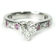198  Heart Shape Diamond Ring With Diamond And Pink Sapphire Side Stones