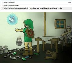 i hate it when Link comes into my house & breaks all my pots.