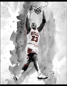 Michael Jordan Monochromatic Watercolour Art