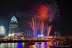 Friday Night Fireworks over the Ohio River after Reds game at Great American Ball Park.  Seen from Covington, Kentucky