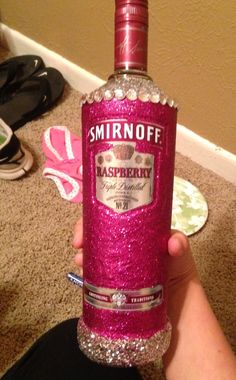 Great way to get crafty with a 21st birthday gift or gift for any college girl!!  Cover area desired with mod podge. Then cover with glitter and wait a few minutes to shake off excess. Once you've covered your bottle and allowed to dry (about an hour), go over entire glittered area again with a layer of mod podge to seal it!