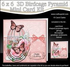 3D Butterflies And Roses Birdcage Pyramid Card Kit