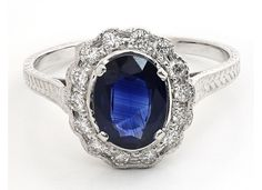 "This is the white gold ""Mulberry"" ring set with a sapphire ($2,665) from Bernard Nacht's ""Vintage Brilliant"" collection."
