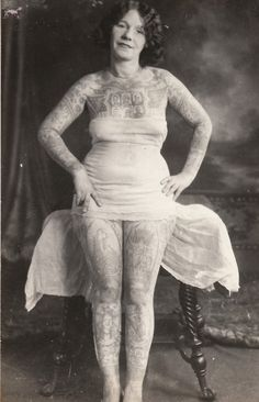 dulltooldimbulb:  Tattooed Woman Photograph Collection Jim Linderman from Tattooed Women article HERE