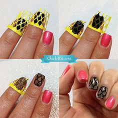 Nail art using Stuck On Love nail shields and Pink Gellac glitter spray!  Chickettes.com