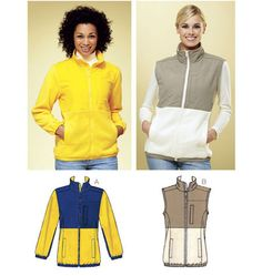 Kwik Sew Sewing Pattern Misses' Stand-Up Collar Jacket and Vest Collar Pattern, Jacket Pattern, Kwik Sew Patterns, Fleece Patterns, Skirt Patterns, Fleece Vest, Fleece Jackets, Fabric Shop, Sewing Clothes