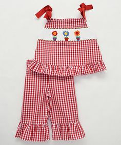 Look what I found on #zulily! Red Flower Smocked Top & Capri Pants - Infant, Toddler & Girls #zulilyfinds