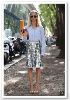 Milan fashion week   Alsof ik nog meer bewijs nodig had dat pailletten overdag gewoon kunnen