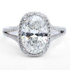 The Center of My Universe (TM) split shank oval ring set in platinum by Forevermark by Premier Gem.