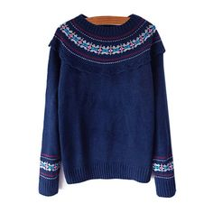 SheIn(sheinside) Navy Round Neck Tribal Print Loose Sweater ($20) ❤ liked on Polyvore featuring tops, sweaters, navy blue, loose fit sweater, navy sweater, blue top, cut loose tops and blue sweater