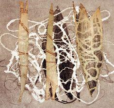 Pamela McKee-Prints ~ Monoprint, ramie fiber, corn leaves