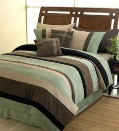 """Moss Jacaranda Striped Micro Suede Luxury Bed in a Bag Comforter 6 piece Bedding Set - Queen Size by Sweet Jojo Designs. $127.40. Matching panels and valance accessories are available.. This set also comes with two embroidered throw pillows and a corner pleated bed skirt.. Dimensions: Comforter-King(104""""x90"""") Queen(88""""x90""""), Sham- King(20""""x36"""") Standard(20""""x26""""). 6 Piece Bed in a Bag Set: 1 Comforter, 2 Pillow Shams, 1 Bed Skirt, 2 Decorative Throw Pillows. Machine..."""