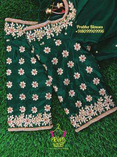 Wedding Saree Blouse Designs, Half Saree Designs, Pattu Saree Blouse Designs, Embroidery Works, Hand Embroidery, Embroidery Blouses, Zardozi Embroidery, Embroidery Designs, Magam Work Blouses