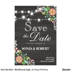 Shop Save the Date - Blackboard, Light, Pastel Flower created by MagicWedding. Invitation Design, Invitations, Pastel Flowers, Blackboards, Flower Cards, Save The Date, Dating, Lights, Wedding