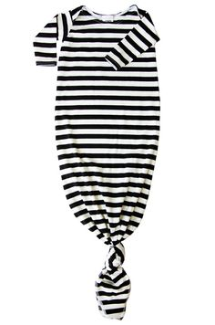 cotton knotted baby gown in black and off white stripes