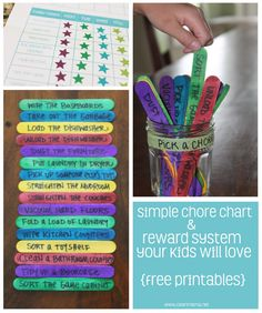 Simple Chore Chart and Reward System Your Kids Will Love via Clean Mama --My version is... All daily chores =15min tablet or TV, all chores all week = 35 min playstation/computer(-5 for unfinished days), 4 extra chores each week = popcorn n movie or special dessert