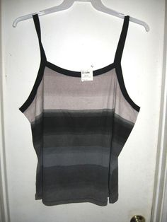 Fashion Bug Gray Black Striped Tank Top Plus Size 22/24W 22 24 NEW #FashionBug #TankCami
