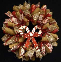 Candy Cane Wreath, Christmas, Red White Decor 1357