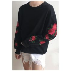 Round Neck Long Sleeve Floral Rose Embroidered Casual Loose Pullover... (37 AUD) ❤ liked on Polyvore featuring tops, hoodies, sweatshirts, loose pullover, long sleeve sweatshirt, round neck sweatshirt, loose fitting tops and floral tops