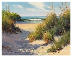 Posterazzi Beach in Shadow Canvas Art - Mary Erickson x Scenery Paintings, Frames For Canvas Paintings, Seascape Paintings, Landscape Paintings, Canvas Art, Photo To Oil Painting, Beach Scenery, Watercolor Pictures, Affordable Wall Art