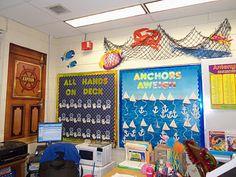 Nautical classroom decorations of nautical classroom dec Classroom Decor Themes, Classroom Jobs, 3rd Grade Classroom, Classroom Setup, Classroom Design, Kindergarten Classroom, Classroom Organization, Ocean Themed Classroom, Future Classroom